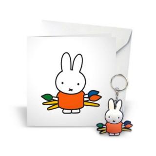 Grußkarte mit Schlüsselanhänger Miffy malt