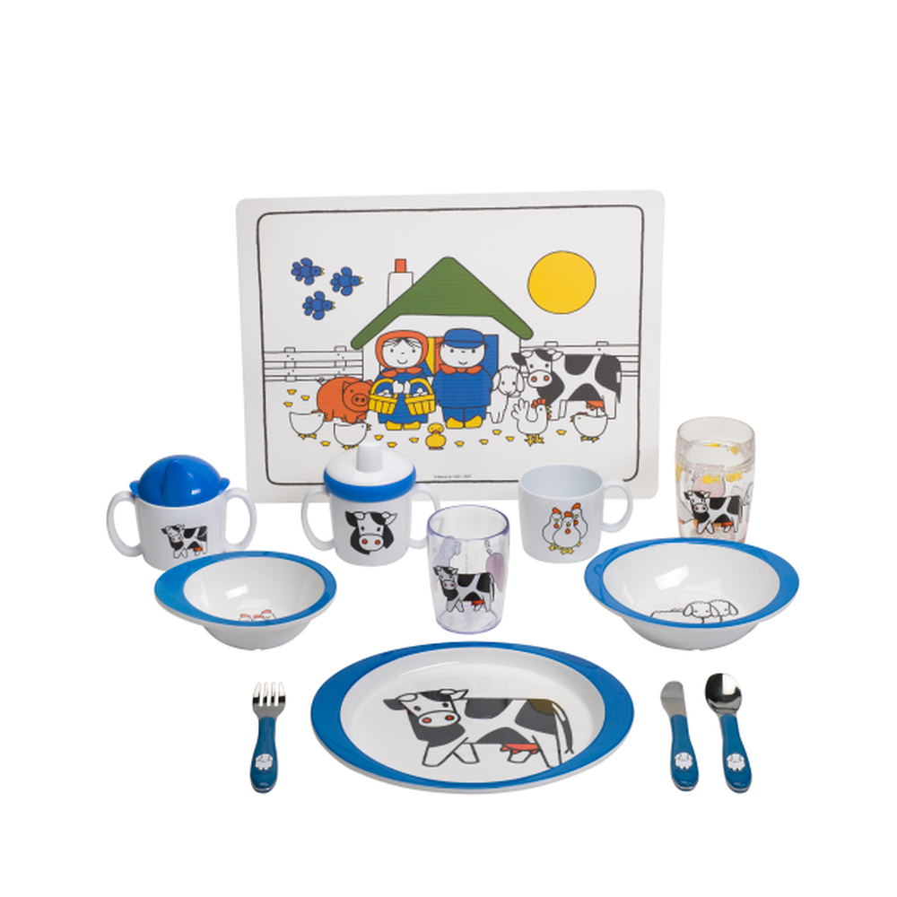 geschirr set 4tlg bauernhof blau 03 108315065203. Black Bedroom Furniture Sets. Home Design Ideas